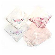 4 Handkerchiefs Dainty Pull Work HAND APPLIQUED Cotton