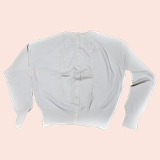Ban-Lon Beaded ladies SWEATER White Buttery Soft Size 38