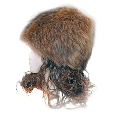 FREE Ship in US Raccoon Hat PIXIE Cone Style Fur by Jean Guy HAUTE MODE With Box