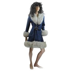 1970s Ladies Suede Coat Fitted FOX Fur Trimmed Size 36