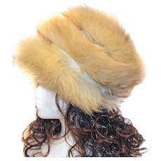 FREE SHIP IN US Fox Fur Hat Three Banded Sections TALL Distinctive