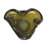 Art Glass Deco ARIES RAM Cigar Ashtray OLIVE GREEN unusual
