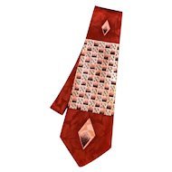 "4 1/2"" Wide Hand Made 1940s Silky Tie GEOMETRIC Design Rust Pink Black AMAZING !"
