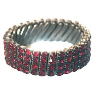 Expansion Stretch Bracelet Ruby RED Stones 1950s