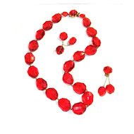 Demi Parure Cherry Red PLASTIC Beads Clip Earrings West Germany SHABBY CHIC