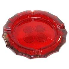 FOSTORIA Coin Ruby RED Cigar Ashtray Heavy