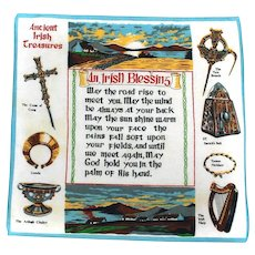 Hankie Irish BLESSING Ireland Souvenir Handkerchief