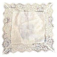 """Vintage Linen 2"""" Lace Hanky Hankie Ecru"""