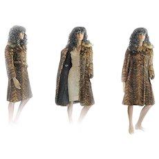 1960s MOD Elegante Mink Fur Coat Fox Collar BELT A Line DOUBLE BREASTED Belt Small/Medium