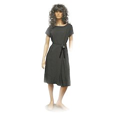 1940s Original Blakely Fashions Black Velvet Trimmed Crepe Dress Rosette AURORA BOREALIS Button Size Large