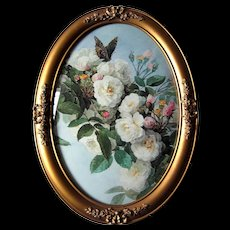 Paul de Longpre Roses Butterfly Vintage Print Antique Oval Barbola Frame Convex Bubble Glass French Ribbon