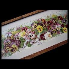 Antique Pansies Yard Long Print Grace Barton Allen Victorian Chromolithograph