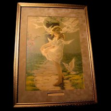 The Winged Aureole Besse Pease Gutmann Print Child Lady Bird Dove Antique