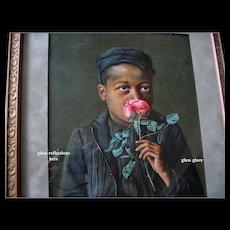 Negro Boy Black Americana Print c1895 Antique Victorian Chromolithograph Original Frame