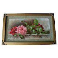 Antique Roses Print Paul de Longpre c1895 Victorian Chromolithograph Half Yard Long