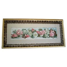 c1890 Roses Yard Long Print Annie Nowell Chromolithograph Antique Victorian Prang Fancy Rose Frame