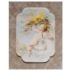 Victorian Cupid Print Roses Sturm c1890s Antique Angel Fairy Cherub
