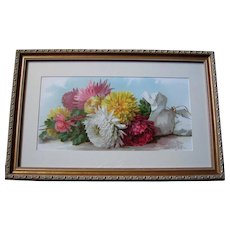 Antique Chrysanthemums Print Paul de Longpre Fall Beauties c1890s Victorian Half Yard Long