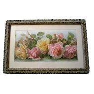Antique Roses Print Paul de Longpre Just Too Sweet Antique Victorian Barbola Frame