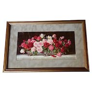 Antique Roses Print c1910 Half Yard Long