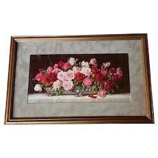Antique Roses Print c1910 Half Yard Long