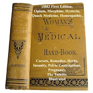 Womans Medical Hand Book The Practical Home Doctor c1892 Antique  Book First Edition Corsets Quack Medicine Opium Morphine Hysteria Pregnancy Toilet Pelvic Contraptions Remedies Herbs Homeopathic Drowning Accidents Nervous Cough Insanity