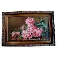 Antique Roses Print Marsh c1895 Victorian Chromolithograph Half Yard Long