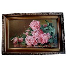 Antique Roses Print Marsh c1895 Victorian Chromolithograph Half Yard Long