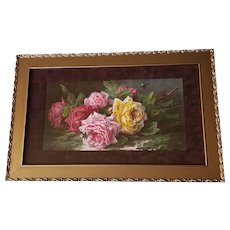 Antique Roses Print Paul de Longpre Sweet Tokens c1894 Half Yard Long Chromolithograph Victorian