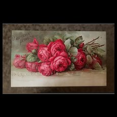 Antique Roses Perfume Print Paul de Longpre Dabrooks Cosmetics Chromolithograph Antique Victorian Frame