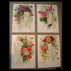 Singer Sewing Calendar Paul de Longpre c1914 Print s Violets Lilacs Nasturtiums Carnations Bees Butterflies - Red Tag Sale Item