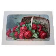 Antique Paul de Longpre Roses Print A Basket of Beauties Bees Chromolithograph Victorian