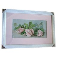 c1896 Roses Print The Three Bridesmaids Sisters Chromolithograph Half Yard Long J Bullis