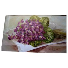 Antique Violets Print Paul de Longpre A Popular Idol Chromolithograph Book Author Autograph