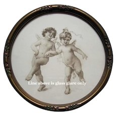 Antique, Cupid, Fairy, Print, Virgilio Tojetti, Barbola, Frame, Roses, Shabby Chic, Valentines Day, Gift - Red Tag Sale Item