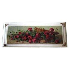 Antique Roses Basket Painting Yard Long Oil