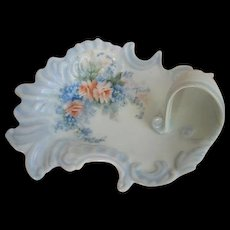 Hand Painted Pink Roses Forget Me Nots Porcelain Tray Nappy Pin Jewelry Dish Vintage