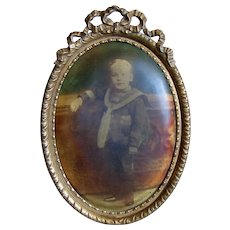 Brass Ormolu Frame with Sailor Boy Antique Victorian