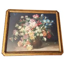 c1910 Spring Flower Print Peonies Apple Blossoms Iris Rhododendrons