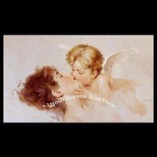 c1892 Lady Cupid Print Martens Chromolithograph Antique Victorian Fairy Cherub Angel