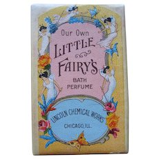 Little Fairys Bath Bar Perfume Soap c1920 Fairy Lady Butterfly Lincoln Chemical Company Whole Bar All Intact