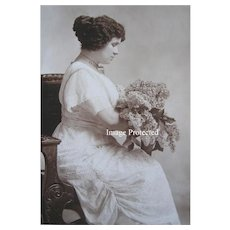 Victorian Lady Lilacs Antique Cabinet Card Photograph Necklace Spokane WA