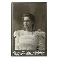 1890s Cabinet Card Lady Photograph Fine Lace Flowers