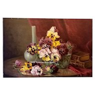 Antique Pansies Print c1898 Marsh Chromolithograph Half Yard Long