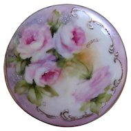 Roses Mirror Hand Painted Gold Pocket Purse