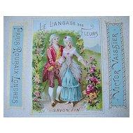 1890 Antique Victorian Perfume Powder Label Print Paris Chromolithograph Gilt