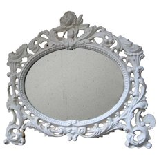 Antique Roses Mirror Cast Iron Oval Fancy Filigree Frame c1920, Shabby Chic