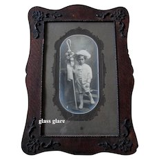 XL c1890s Cabinet Photograph Card Print Boy Fine Clothing Dress Gloves Hat Ornate Frame Vaudeville Hampton Antique Victorian