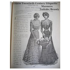 c1900 20th Century Etiquette Book Annie Randall White Bride Toilet Health Manners Dress Fashion Corsets Courting Marriage Wedding Costume Tea Palmistry Language of Flowers Color Plates Many Illustrations