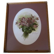 Paul de Longpre Double Violets Print Original Glass Frame Chromolithograph Antique Book Author Autographed